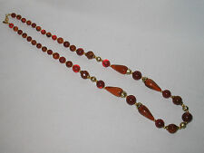 """AMBER COLORED BEADED NECKLACE GOLD TONE SPACERS """"LR"""" LADY REMINGTON 32"""""""