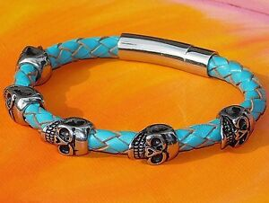 Chunky Turquoise leather and stainless steel skull bracelet by Lyme Bay Art