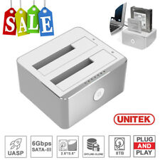 "UNITEK USB 3.0 Dual Bay 2.5"" 3.5"" Drive Clone Dock SATA HDD SSD Docking Station"