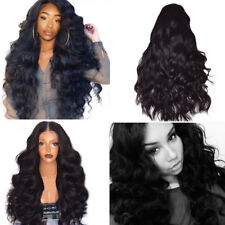 Black Curly Wavy Wig Brazilian Remy Human Hair Body Wave No Lace Front Hair Wigs
