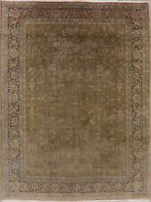 Vintage Animal Pictorial Green Ardakan Area Rug Hand-Knotted Distressed 5'x7'