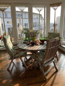 Original Herlag Garten Möbel, Teakholz, 4 Stühle 1 Tisch 120 cm, Massivholz,Teak