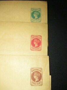 c.1866- NEWFOUNDLAND STAMP QUEEN VICTORIA 1 2 3 CENT PREPAID ENVELOPES