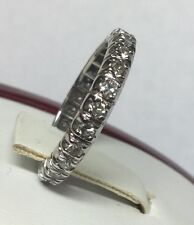 stunning 14kt white gold eternity anniversary band ring 3/4ctw