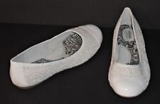 SOFTWALK SHOES - SLIP ON FLATS - WHITE PATENT & CROCHET LACE – SIZE 9M – NEW $70