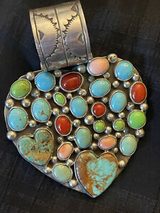 Native American Sterling Heart Pendant Rocki Gorman Kee Cook Turquoise Coral