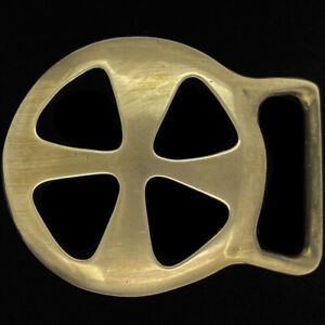 Brass Abstract Maltese Iron Cross X Biker Hippie Art 1970s Vintage Belt Buckle