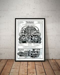"""How To Keep Your VOLKSWAGEN Alive POSTER! - (up to 24"""" x 36"""") - Engine Cut-Away"""