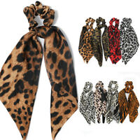 Boho New Leopard Print Women Hair Rope Ribbon Bow Scrunchie Ponytail Scarf New