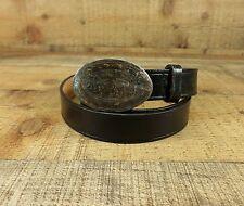 Lands End Leather Belt Silver Tone Brass Buckle Black 32 USA Vtg
