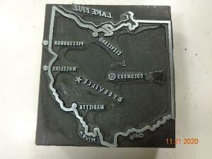 Printing Letterpress Printer Block Antique Ohio Map w Lake Erie Print Cut