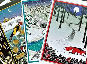 Fox Owl Bird Cat Christmas Cards 4 Cressida Bell Museums & Galleries Britain UK