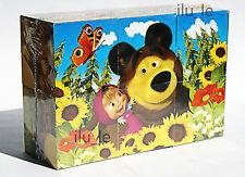 plastic cubes puzzle Masha and the Bear educational toys children mosaic 6psc