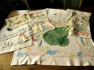 VINTAGE HAND EMBROIDERED LINEN CLOTHS X 16 ALL BEAUTIFUL PIECES