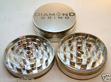 "CLASSIC DIAMOND GRIND 3.00"" Aluminum 2 piece herb Grinder 75mm SILVER"