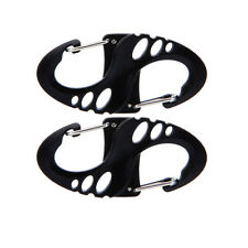 2 Pcs 8-Shaped Carabiner Snap Plastic Camping Hiking Clip Hook Keychain Black