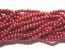 "Wine 6mm Glass Pearls beads WOW 30"" strand"