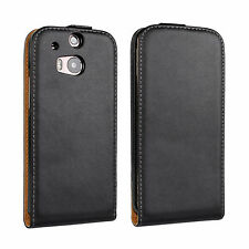 Black Genuine Leather Real Leather Slim Flip Case Cover Skin for HTC One M8