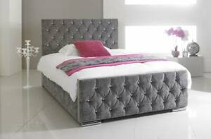 Regal Chenille Fabric Bed Frame Silver, Black, Brown, Mink, Cream, Charcoal