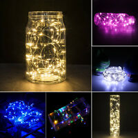 2M 20LED Button Cell Powered Silver Copper Wire Mini Fairy String Light Lights