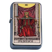 Tarot Card D12 Flip Top Oil Lighter Wind Resistant Flame XI Justice