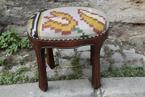 Ottoman Stool,Kilim Upholstery Stool,Rectange Kilim Stool,Rectangle Foot stool