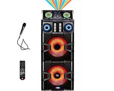 "Dual 15"" DJ PRO Karaoke Mega Home Party Speaker System Bluetooth Disco Lights"