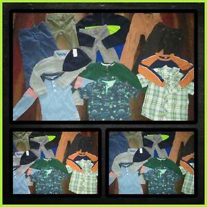 HUGE CLOTHES LOT-POLO SHIRTS ADJUSTABLE WAIST JEANS OLD NAVY GAP BOYS SIZE 5T 5