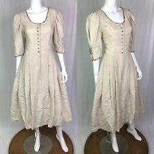 Rose Drindl Women's 40 Beige Floral Button Up Midi Dress Oktoberfest Flare M