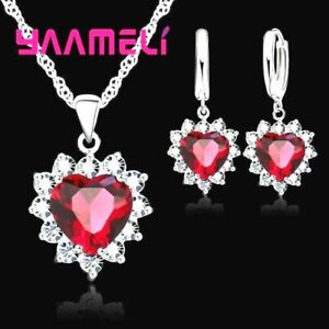 925 Sterling Silver Red Cubic Zirconia Heart Crystal Necklace And Earring Set UK