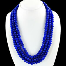 772.00 CTS EARTH MINED 3 LINE RICH BLUE SAPPHIRE ROUND CARVED BEADS NECKLACE