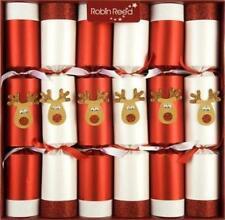 6 Luxury Reindeer Games Motif Christmas Crackers Red White Glitter Racing Game