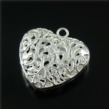 2pcs Sliver Heart Shape Mexican Bola Loket Angel Caller Necklace Pendants Charms