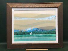 Original Signed Jim Tillett Silk Screen Abstract Seascape w/ Sailing Boat Framed