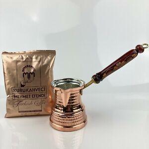 Turkish Coffee Set - Turkish Coffee + Coffee Pot (Copper) - Wooden Handle