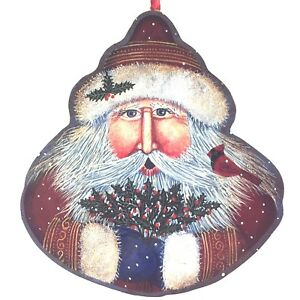 Winter Wind Folk Arts Santa with Holly Christmas Tree Ornament 2-Sided 4 1/4""