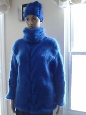 Blue Hand Knitted Mohair Sweater with removable colar Pullover  M L XL