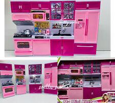 Kids Mini Doll Kitchen Playset Girls Pretend Cooking Toy Play Set Pink Gift Xmas