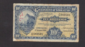 10 SHILLINGS VG BANKNOTE FROM BRITISH COLONY OF GIBRALTAR 1958 PICK-14