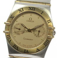 Authentic OMEGA Constellation YG Bezel DAY&Date Quartz Men's wrist watch_359648
