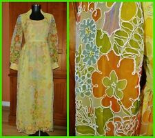 Vtg 70s Floral Sheer Tulle Soutache Embroidery Poet Slv Boho Evening DRESS GOWN