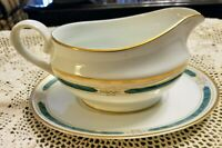 GORHAM CHINA ~ REGALIA COURT TEAL GRAVY BOAT WITH UNDERPLATE ~NEW ☆