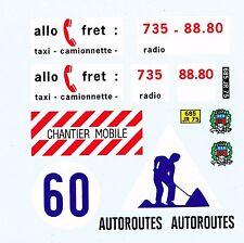 decals pour Dinky: Peugeot J7 Allofret - dépannage autoroute - pompiers de Paris