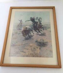 "C.M. Russell 1904 ""Cowboy Roping a Steer"" Framed Print"