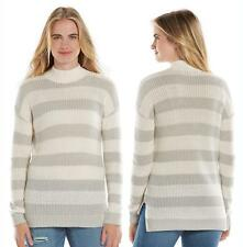 LC Lauren Conrad Women's Size Small Grey Ivory Stripe Mockneck Sweater NEW $54