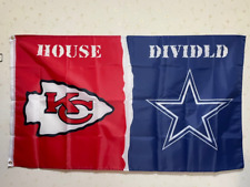 Kansas City Chiefs Dallas Cowboys House Divided Flag 3X5 FT NFL Banner Polyester