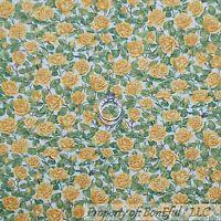 BonEful Fabric FQ Cotton Quilt VTG White Yellow Green Rosebud FLOWER Shabby Chic
