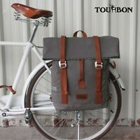 Tourbon Canvas Commuter Bike Backpack Rear Pannier Bag Waterproof Travel Handbag
