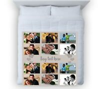 Large Warm Sofa Fleece Personalised Neutral Gingham Heart Photo Fleece Blanket