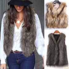 New Women Warm Faux Fur Vest Sleeveless Coat V-Collar Waistcoat Jacket Outwear